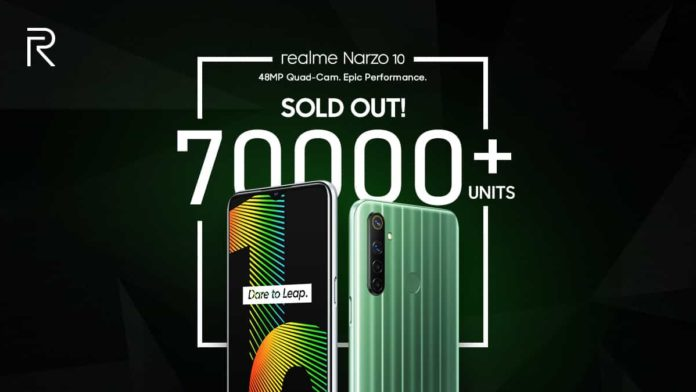 Realme Narzo 10 Hits Record sale of 70,000 units on the first Flash Sale Realme Narzo 10 India