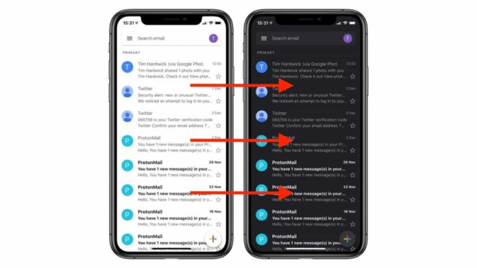 Gmail Finally Rolls-out Dark Mode for iPhone and iPad