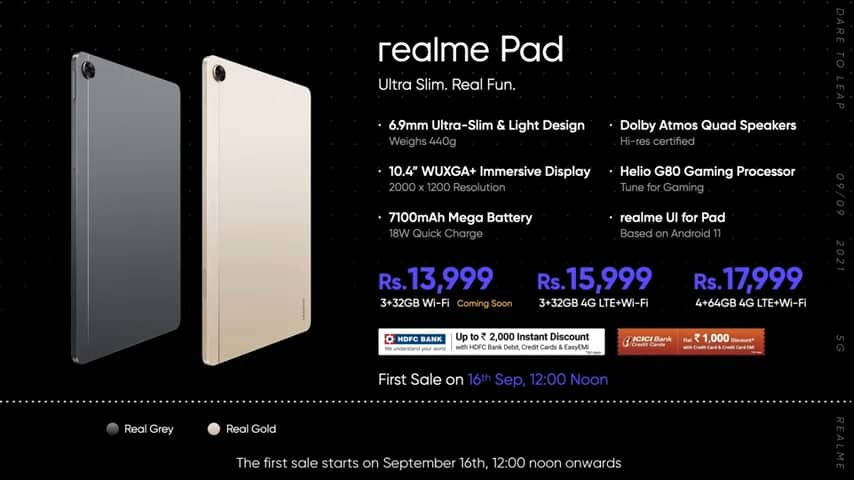 Realme Launches New Tablet Realme Pad At Rs. 13999 Specifications